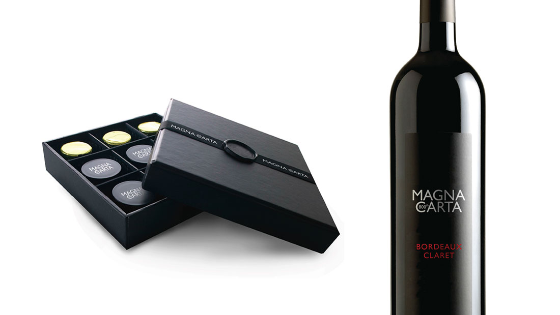 Magna Carta bottle and chocolate branding by CreativeAdviser, creators of financial branding