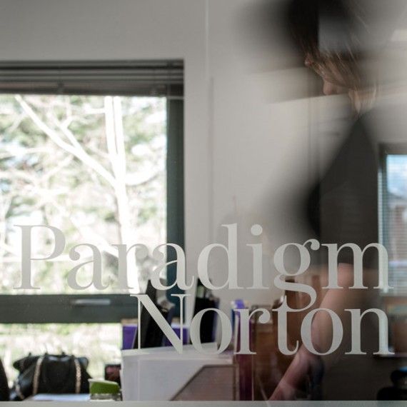 Paradigm Norton financial branding, office interior