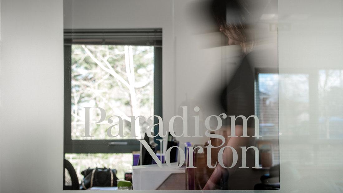 Paradigm Norton financial branding, office interior