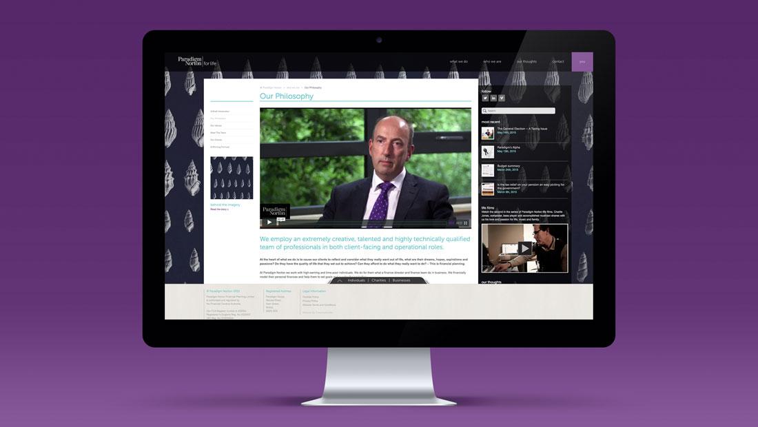 Paradigm Norton financial websites, homepage