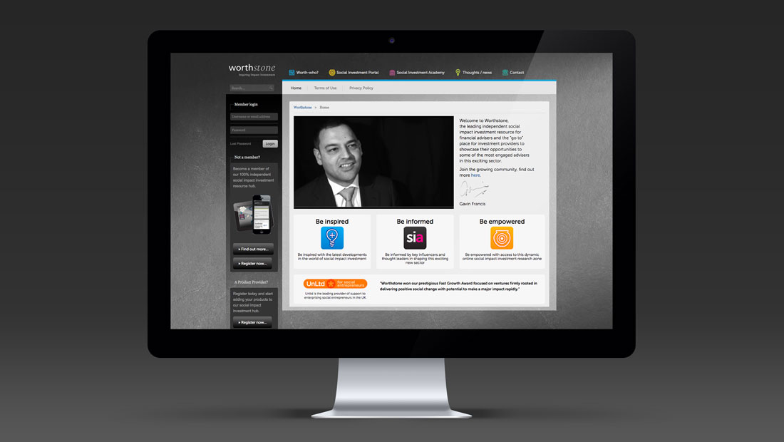 Worthstone homepage design, ifa websites