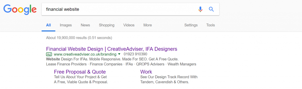 Financial website adwords example