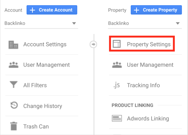Analytics property in Google Analytics for financial marketing