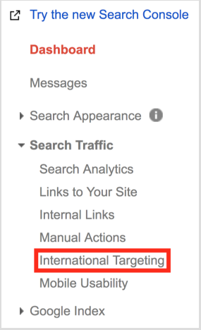 Targeting in Google Search Console for financial marketing