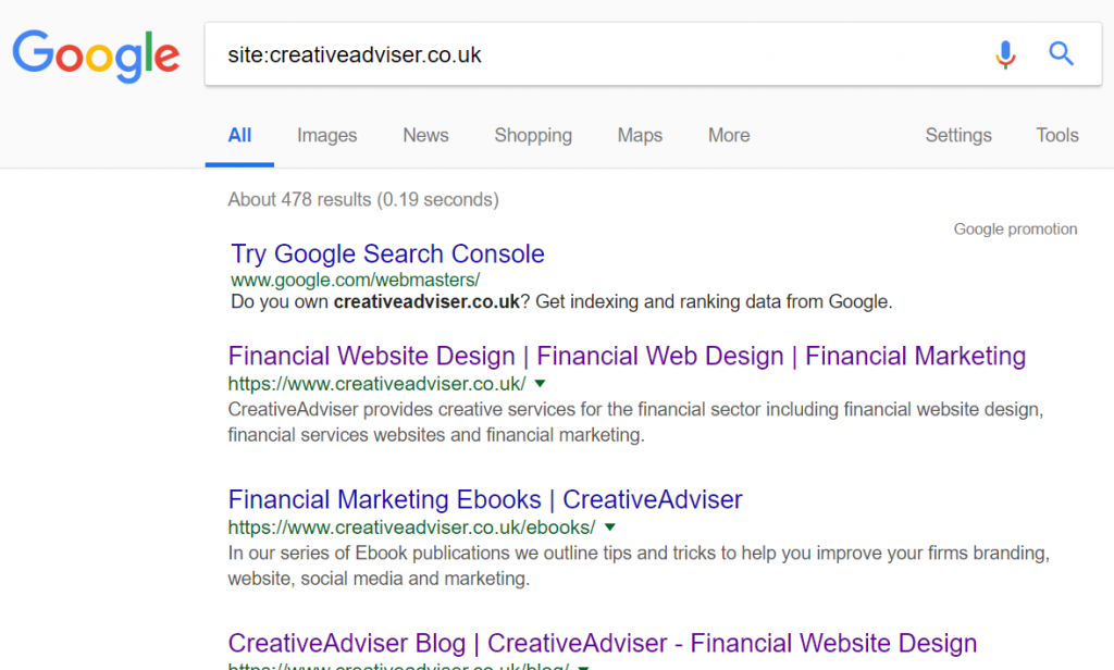 Example of financial website marketing in Google