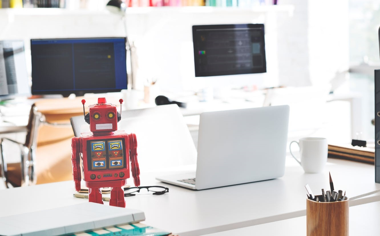 A toy robot, illustrating robots on financial websites