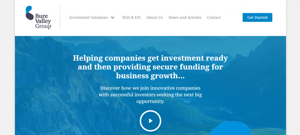 Screenshot of bure valley group financial website homepage